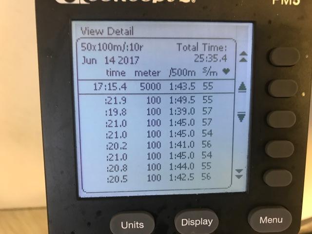 100 gånger 100 m på SkiErg. Sista 50 st.
