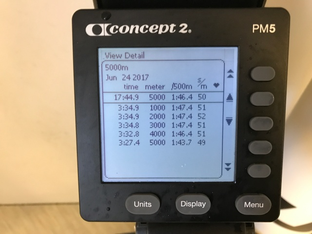 5000 m SkiErg på 17.44 min. Väggfast nya modellen. Motstånd 10.