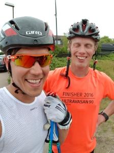 Rickard Bergengren och jag efter avslutat pass i Hästens vatten-backen
