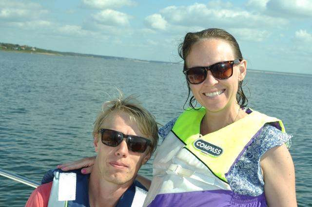 Ida och jag på en av många turer i Skälderviken med min fars båt