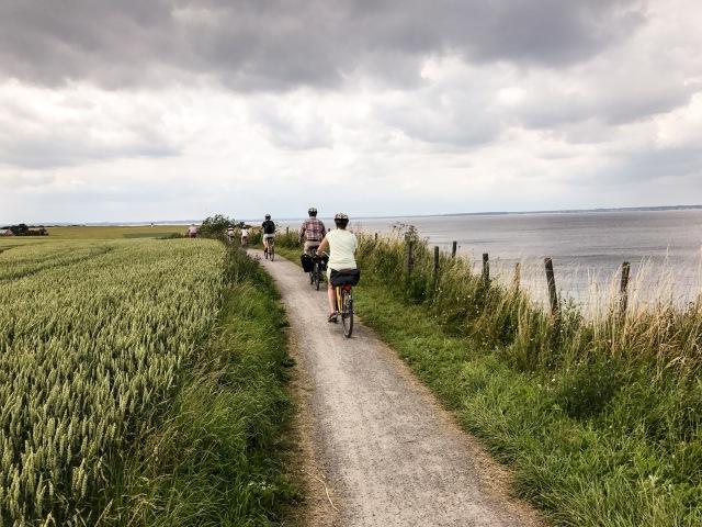 Cykling på Ven. Här på väg på västsidan varifrån man ser Danmark.