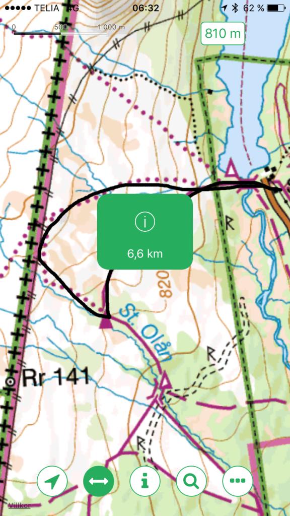 Fjällkartan som kostnadsfri app. Bra grej att kunna rita ut turen innan med fingret på skärmen för att kunna mäta avstånd