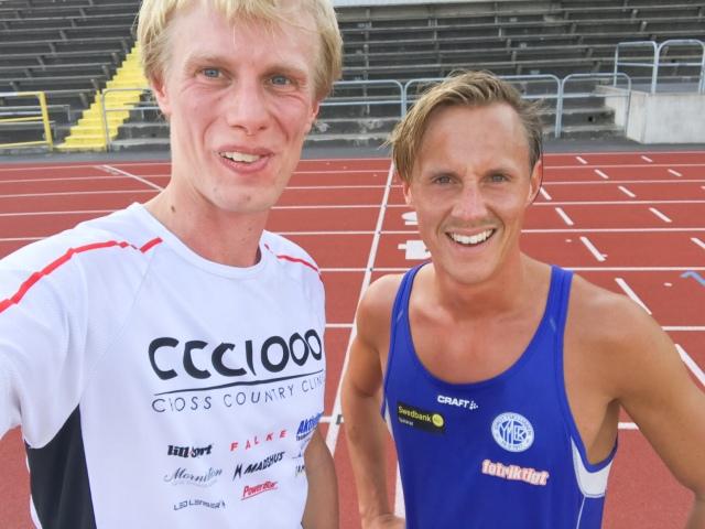 Jakob Böhm och jag efter avslutat intervallpass på Ryavallen 7 augusti 2017