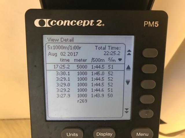 5 st 1000 m-intervaller på SkiErg med 1 min vila. 3.29 min i snitt. Motstånd 8, nya maskinen väggmonterad. Rekordsnittet ligger på 3.26 min.