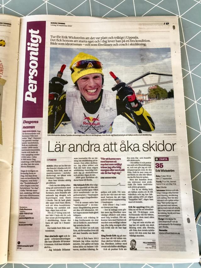 Borås Tidning 16 september 2017. Erik Wickström 35 år.