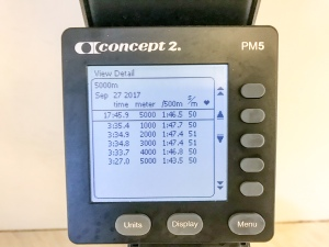 5000 m SkiErg på 17.45 min på motstånd 8. Bra splittar som letade sig neråt, men aningen låg frekvens.