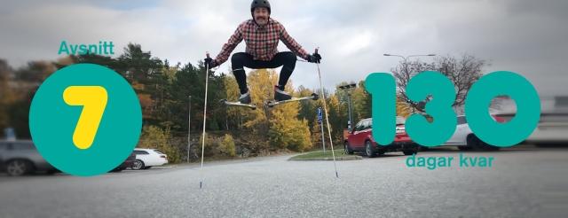 Niklas Bergh hoppar mot himlen på rullskidor. Avsnitt 7 av Vasaloppet Lagom podcast.