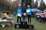 Tobias Andervang, Jakob Böhm och Erik Wickström. Herrpallen i Rya Åsar Trail Run 2017.