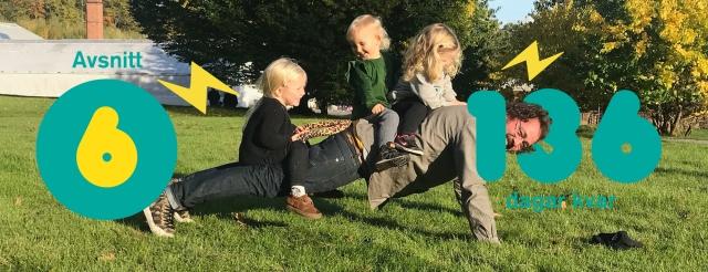 Styrketräning för motionärer med Vasaloppet som mål. Det är avsnitt 6 av podcasten Vasaloppet Lagom. På bilden Niklas Bergh med ett av sina två barn samt två andra barn.