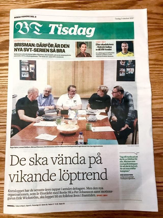 Borås Tidning förstasidan del 2 tisdag 3 oktober 2017. Nya organisationen för Kretsloppet.