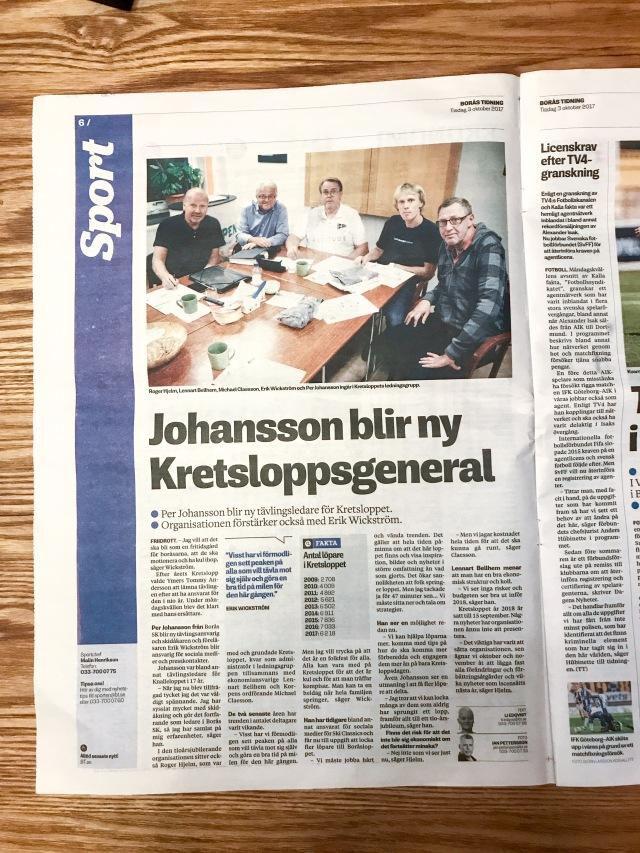 Borås Tidning tisdag 3 oktober 2017. Kul att de plockade upp min liknelse med en fritidsgård.