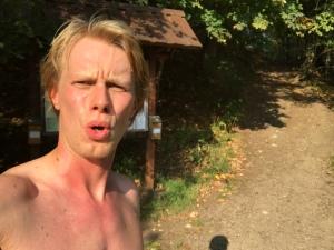 1 oktober 2017. Varmt i Borås. Här vid foten av Rya Åsar.