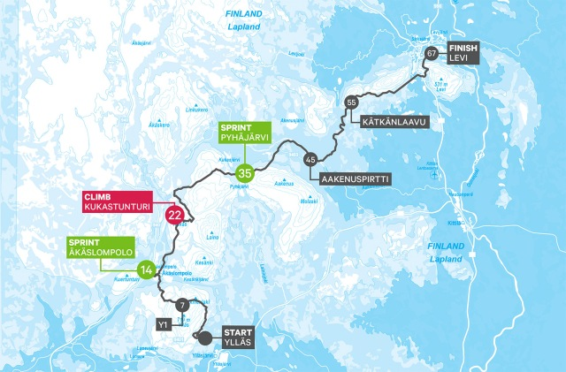 Ylläs-Levi 2018 karta över spåret