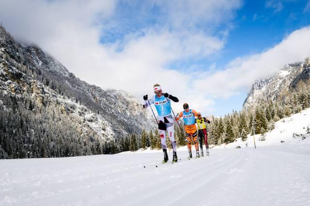 Toblach-Cortina 2017. Tättrion Morten Eide Pedersen, Petter Eliassen och Tord Asle Gjerdalen. Foto: Magnus Östh.