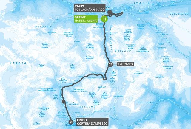 Toblach-Cortina 2018 karta bansträckning