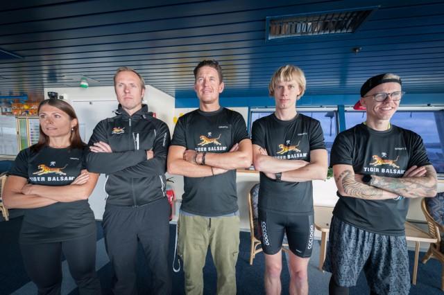 Bella Magnusson, Fredrik Erixon, Jonas Colting, Erik Wickström och Bingo Rimér på Baltic Sea & Ski Camp. Foto: Göran Digné.