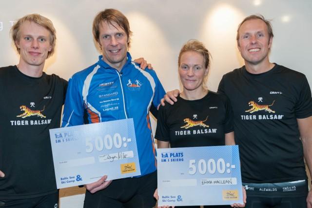 Jörgen Nilsson och Emma Maclean. Vinnare av inofficiella SkiErg-SM 2017. Foto: Göran Digné.