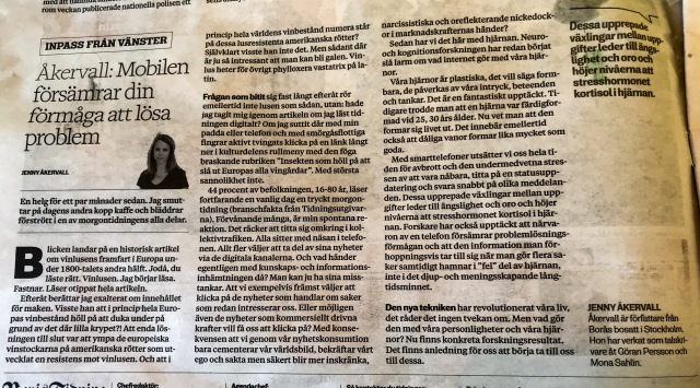 Krönika i Borås Tidning av Jenny Åkervall.