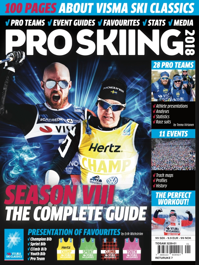Pro Skiing VIII omslag. Visma Ski Classics tidning för säsongen 2018.