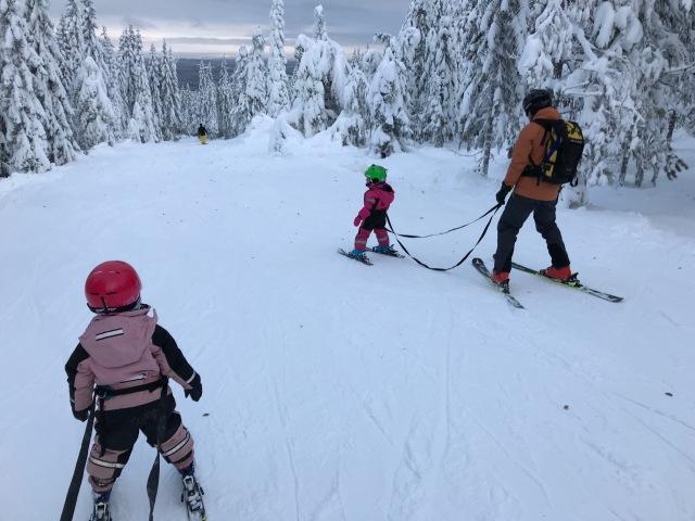 Maj till vänster, min svåger Erik Lindell med sin Sigrid till höger. På Blåbärsstigen i Orsa Grönklitt.