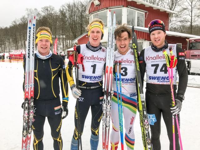 Borås Ski Marathon 2018. Martin Gotting, Erik Wickström, Rickard Bergengren och Simon Grenlöv