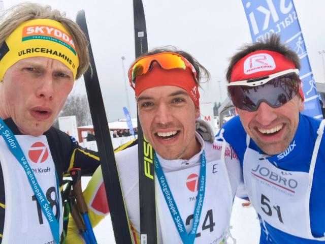 Rickard Bergengren och Johan Kanto efter målgång. Kul att se Kanto i Sverige. Jag trodde att han hade flyttat till Sjusjøen.