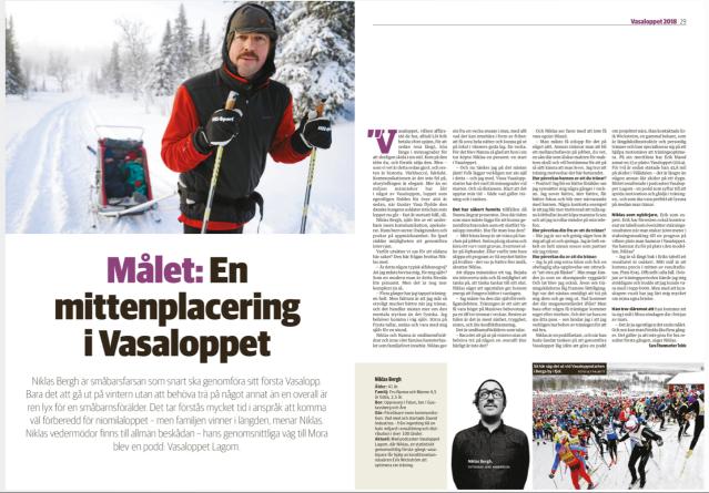 Niklas Bergh i Dalarnas Tidningars Vasaloppsbilaga