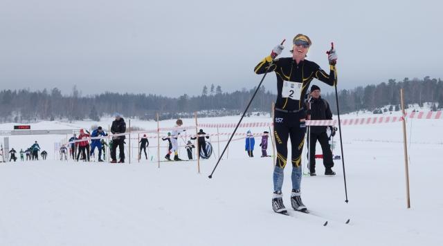 Så här glad kan man se ut i Vreta Ski Maraton 2018. Foto: Mikael Johansson.