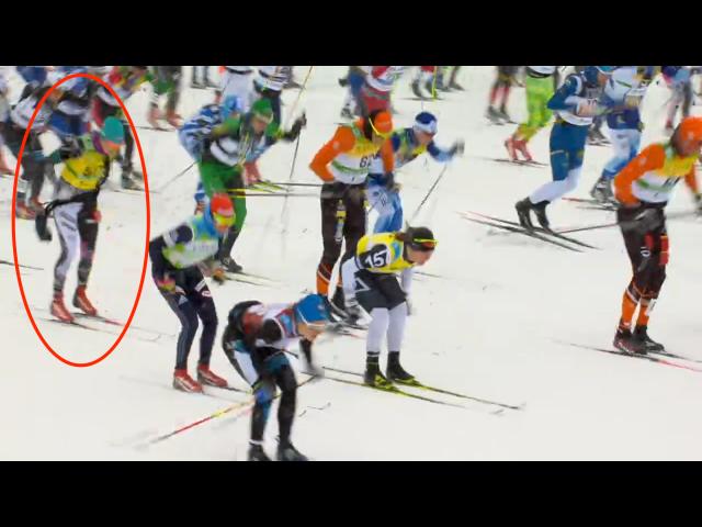 Så här såg det ut när Sara Lindborg tappade sitt vätskebälte i starten. Jag tror kommentatorerna missade det.