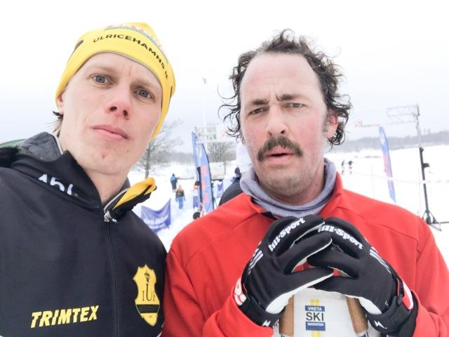 Niklas Bergh, som jag gör podden Vasaloppet Lagom tillsammans med, var på plats och seedade upp sig till led 8.