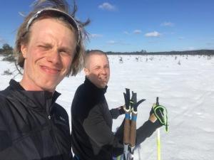Henrik Litzell och jag på Tänge mosse nära Pålsbo strax utanför Backabo åt Sandhults-hållet