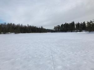 Lagom mycket snö på sjöarna för skejt
