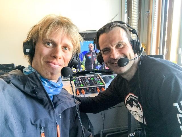 Teemu Virtanen och jag kommenterade Ylläs-Levi. Han kommentator och jag expertkommentator.