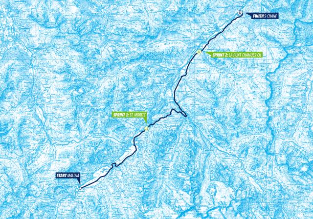 Karta Engadin Skimarathon. Map Engadin Skimarathon.