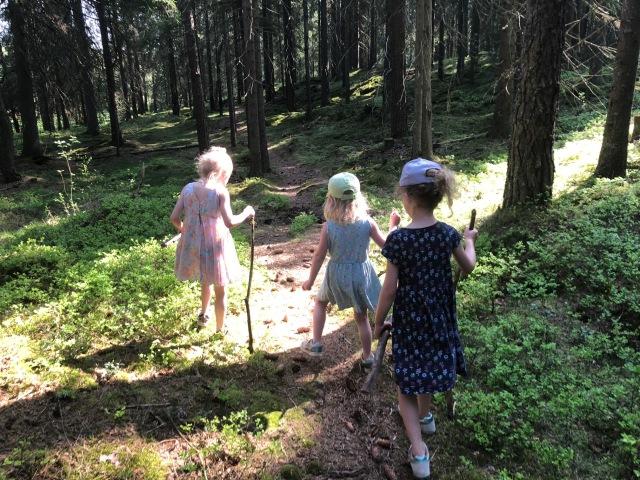 """Astrid, Maj, en kusin och jag skulle ut och plocka vitsippor. Det råkade istället bli en vandring på nästan en halvmil, bl a förbi """"Röda granen"""" och med saftstopp i Hulebo hos familjen Jönsson. Där långt upp i Sjömarken hade min syster Ellen häst när hon var liten. Fint ställe och fin stig dit."""