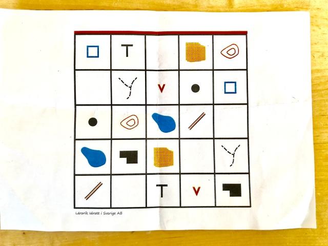 Karttecken orientering bingobricka