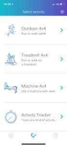 """Så här ser appen """"Myworkout GO"""" ut. För träningspass med 4*4 min-intervaller."""