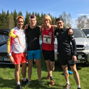 Västgötaloppet Trail före start. Rickard Bergengren, Simon Grenlöv, jag och Marcus Johansson