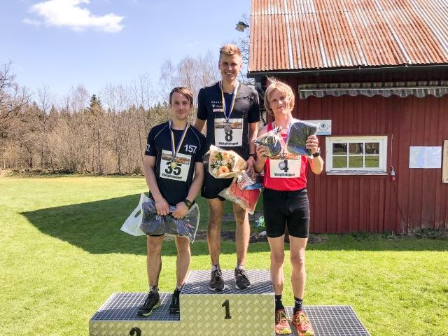 Västgötaloppet Trail 2018, pallen i 28 km-klassen: 1:a Linus Wirén, 2:a Marcus Johansson och 3:a Erik Wickström