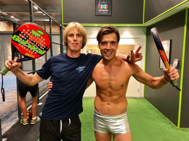 Rickard Bergengren och jag efter segern i padelturneringen