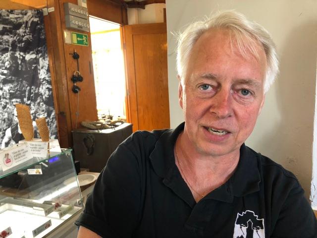 Per Sjögren, en av tre grundare till Kullamannen. Caféet och inträdet till Kullens fyr verkar drivas av Kullamannen Sports Club.