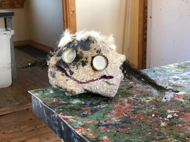 """Trollverkstan i Grövelsjön är ett givet inslag. Här är vad jag åstadkom med en sten som fjället som Maj valde samt hår som barnen plockade i en """"vass""""."""