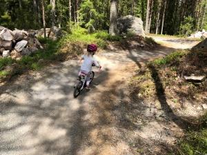 Green Fox heter det kortaste och lättaste MTB-spåret i Trysil. Den gick att cykla när jag puttade på Astrid i uppförsbackarna.