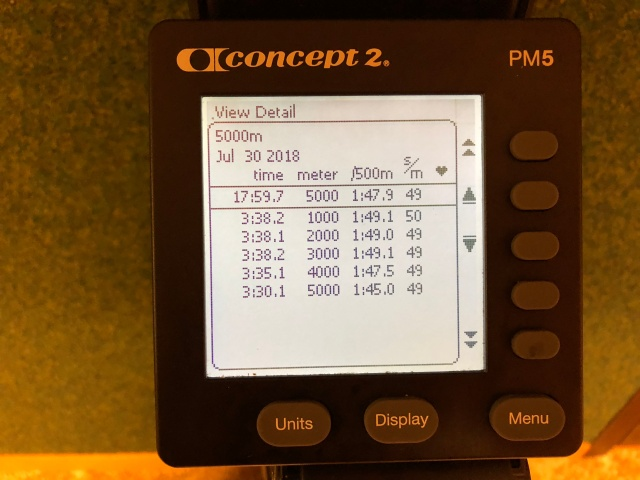 5000 m SkiErg på 17.59 min, vilket är 35 s från perset på 17.24 min. Nya maskinen väggmonterad.
