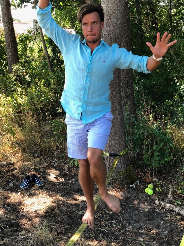 Rickard Bergengren på en Gibbon Slacklines X13 på 15 meter