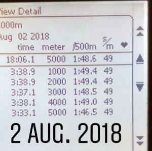 5000 m SkiErg på 18.06 min
