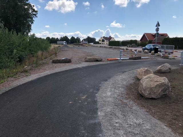 Starten av cykelbanan på Hallandsåsen i Grevie