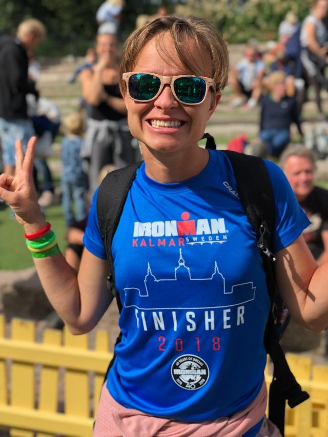 Idas syster Åsa Nilsson körde Kalmar Ironman dagen innan. Hon gick lite konstigt, men imponerande att att fixa dagen.