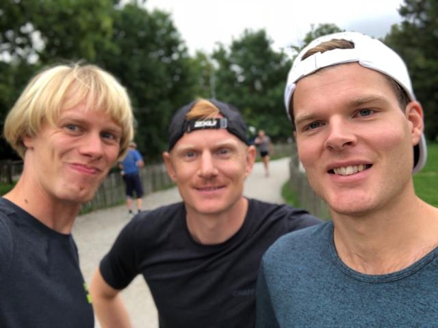 Jag, Martin Damm och Simon Grenlöv efter avslutat pass på Skryllegården.