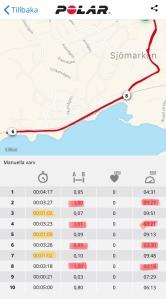 Löpintervaller 1 km mellan Sjömarken och Sandare. Polar Flow-appen.